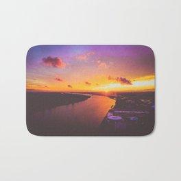 fiery sunset over the Detroit River Bath Mat