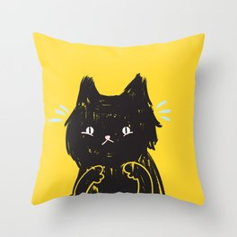 Scaredy Cat - Cute scared black kitty cat illustration Throw Pillow