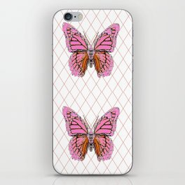 ABSTRACTED  PINK  BUTTERFLY MONARCHS  & WHITE PATTERN iPhone Skin