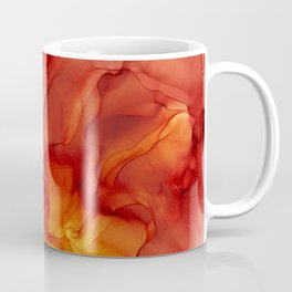 Red Sunset Abstract Ink Painting Red Orange Yellow Flame Coffee Mug