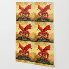 Red Dragon's Treasure Chest Wallpaper