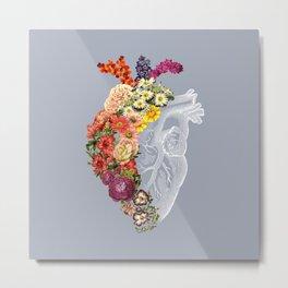 Flower Heart Spring Light Grey Metal Print