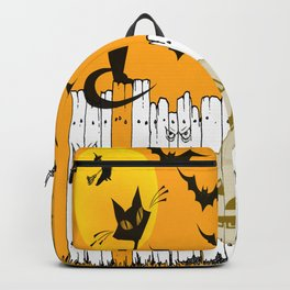 Black Cat on a Spooky Fence - Halloween Backpack