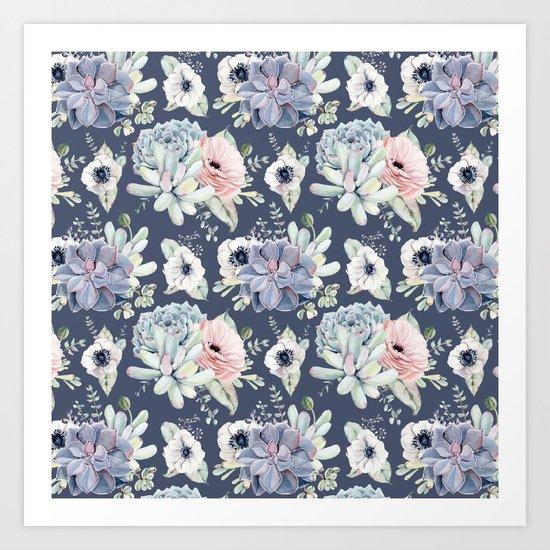 Beautiful Succulent Garden Navy Blue + Pink Art Print