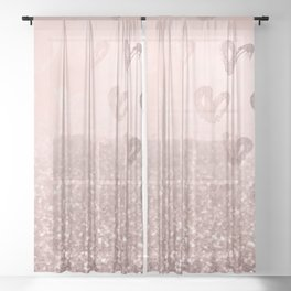 Rose Gold Sparkles on Pretty Blush Pink with Hearts Sheer Curtain