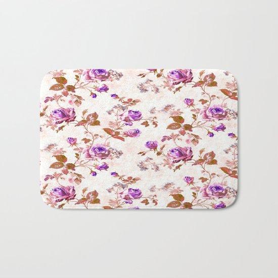 Purple Gold Roses Bath Mat
