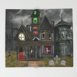 Halloween Haunted Mansion Throw Blanket