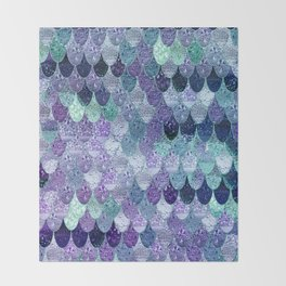 SUMMER MERMAID  Purple & Mint by Monika Strigel Throw Blanket