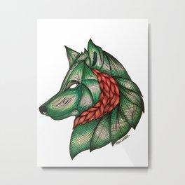 Emerald Wolf Metal Print