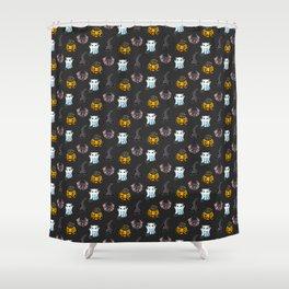 Cute Halloween Cat Kitten Bat Pattern Shower Curtain