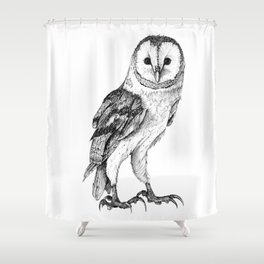 Barn Owl - Drawing In Black Pen Shower Curtain