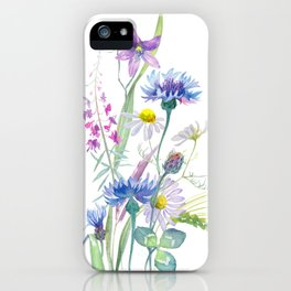 Watercolor wildflower composition on white background iPhone Case