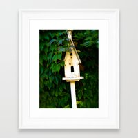 verse Framed Art Prints featuring Birdhouse Verse by 3 Chics Couture