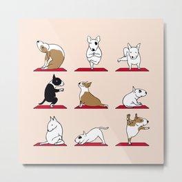 Bull Terrier Yoga Metal Print