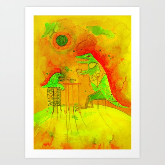 tea time on Moon Art Print