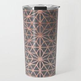 Modern rose gold stars geometric pattern Christmas grey graphite concrete industrial cement Travel Mug