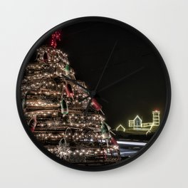 Lobster trap tree at the Nubble Lighthouse Wall Clock