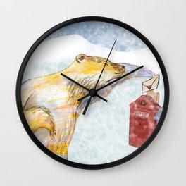 Valentines polar bear Wall Clock