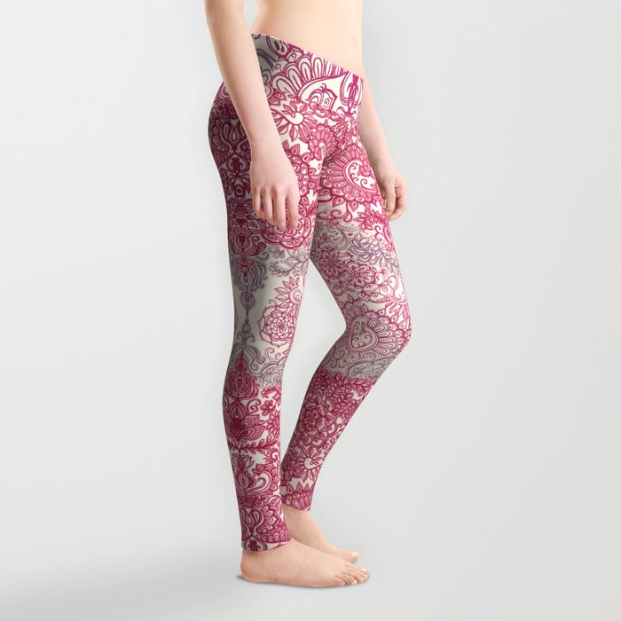 Happy Place Doodle in Berry Pink, Cream & Mauve Leggings