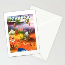 1950 Iconic Mexico Travel Poster Stationery Cards