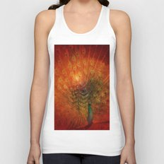 Peacock in Red Unisex Tank Top