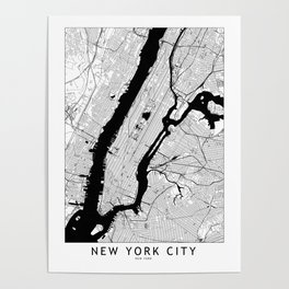 New York City Black and White Map Poster