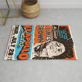 Vintage James Brown at the NY Apollo Harlem Theatre Concert Gig Poster Rug