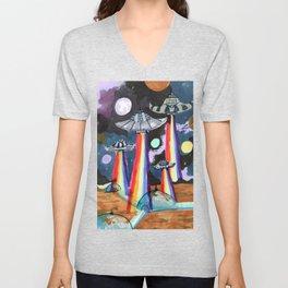 rainbow ufo Unisex V-Neck