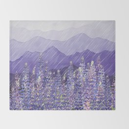 Purple Mountain Rain Throw Blanket