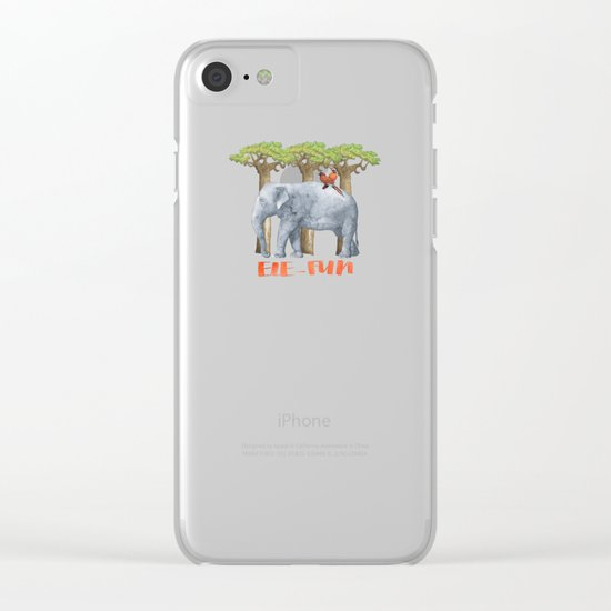 ELE FUN - Elephant Africa Watercolor Illustration Clear iPhone Case