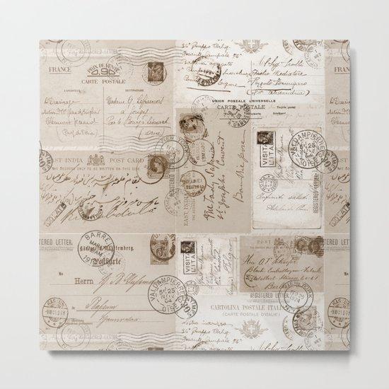 Old Letters vintage collage Metal Print