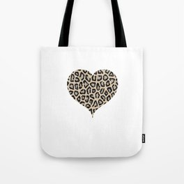 Cheetah Pattern Heart Leopard Fur Heart Shape Animal Print Tote Bag