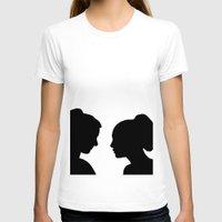 glee T-shirts featuring Brittana - Glee - Silhouette Minimalist design by Hrern1313
