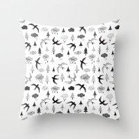 swallow Throw Pillows featuring swallow by Hui_Yuan-Chang