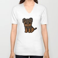 caleb troy V-neck T-shirts featuring Troy - Silky Terrier by Sylvester Pyke