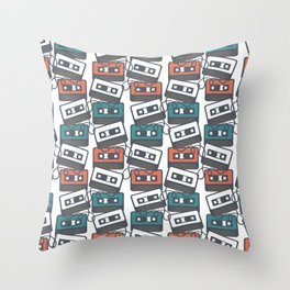 Cassette Tape Pattern Throw Pillow