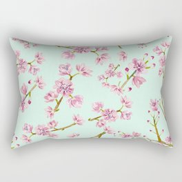 Spring Flowers - Mint and Pink Cherry Blossom Pattern Rectangular Pillow