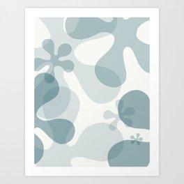 Flower Power in Steel Blue and White Art Print