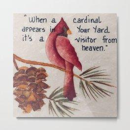 Cardinal Art, Cardinal Painting, Bird Art, Small Art, Cardinal Oil Painting, Stone Tile, Painting on Metal Print