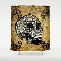 skull Shower Curtains featuring Skull by nicky2342