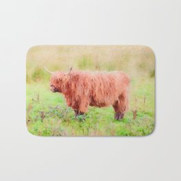 Highland cow watercolor painting #7 Bath Mat
