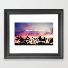 1980's sunset and quote Framed Art Print