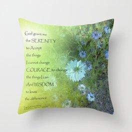Serenity Prayer Bachelor's Buttons Throw Pillow