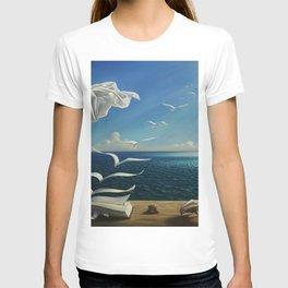 Paper Birds surreal literary seaside nautical portrait painting  T-shirt