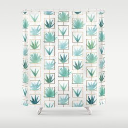 Mid Century Succulents Shower Curtain