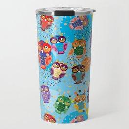 colorful owls on a blue background Travel Mug