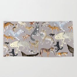 Wolves of the world 1 Beach Towel
