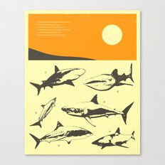 TROPICAL SUNSET (with sharks) Canvas Print