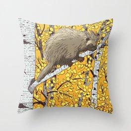 Porcupine & Aspen Throw Pillow