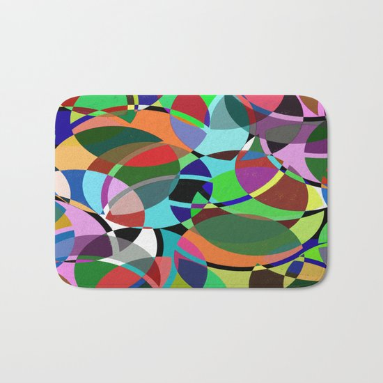 Pastel Pieces II - Abstract, textured, pastel, arcs and circles design Bath Mat